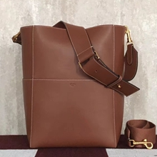 Celine Sangle Shoulder Bag In Chestnut Calfskin