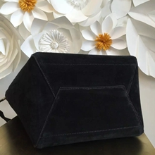 Celine Small Sangle Seau Bag In Black Suede Leather