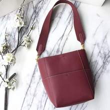 Celine Small Sangle Seau Bag In Bordeaux Calfskin