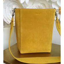 Celine Small Sangle Seau Bag In Yellow Suede Leather
