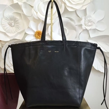 Celine Large Coulisse Shoulder Bag In Black Calfskin
