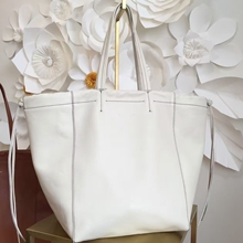 Celine Large Coulisse Shoulder Bag In White Calfskin