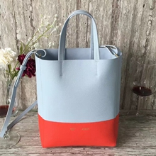 Celine Small Bi Cabas Bag In Cloud/Poppy Leather