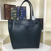 Celine Small Cabas Phantom Bag With Belt In Black Calfskin