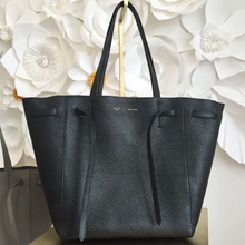 Celine Small Cabas Phantom Bag With Belt In Black Leather