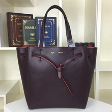 Celine Small Cabas Phantom Bag With Belt In Burgundy Calfskin