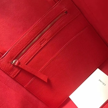 Celine Small Cabas Phantom Bag With Belt In Cherry Leather