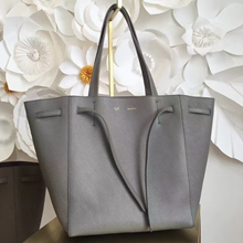 Celine Small Cabas Phantom Bag With Belt In Grey Leather