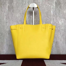 Celine Small Cabas Phantom Bag With Belt In Yellow Leather