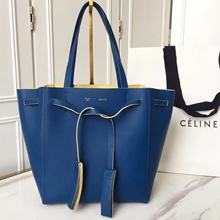 Celine Small Cabas Phantom With Tassels In Blue Leather