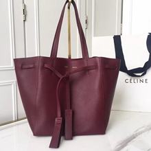 Celine Small Cabas Phantom With Tassels In Bordeaux Leather