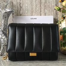 Celine Medium Vertical Quilted Shoulder Bag In Black Leather