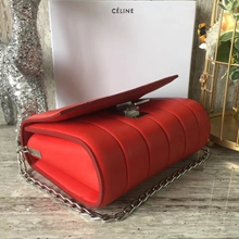 Celine Medium Vertical Quilted Shoulder Bag In Red Leather