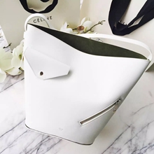 Celine White Bucket Biker Shoulder Bag