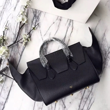 Celine Small Tie Tote Bag In Black Grained Leather