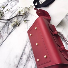 Celine Small Tie Tote Bag In Bordeaux Calfskin