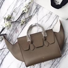 Celine Small Tie Tote Bag In Khaki Grained Leather