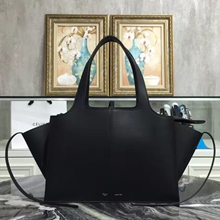 Celine Medium Tri-Fold Shoulder Bag in Black Calfskin