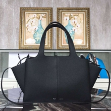 Celine Medium Tri-Fold Shoulder Bag in Black Leather
