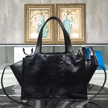 Celine Medium Tri-Fold Shoulder Bag in Black Paperweight Leather