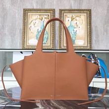 Celine Medium Tri-Fold Shoulder Bag in Brown Leather
