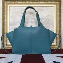 Celine Medium Tri-Fold Shoulder Bag in Cyan Calfskin