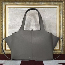 Celine Medium Tri-Fold Shoulder Bag in Grey Leather