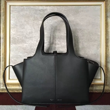 Celine Small Tri-Fold Shoulder Bag in Black Calfskin