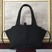 Celine Small Tri-Fold Shoulder Bag in Black Leather