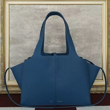 Celine Small Tri-Fold Shoulder Bag in Cyan Leather