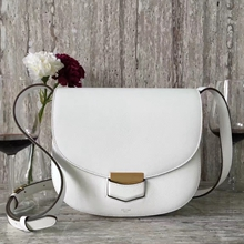 Celine Medium Trotteur Bag In White Epsom Leather