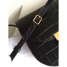 Celine Small Trotteur Bag In Black Crocodile Leather