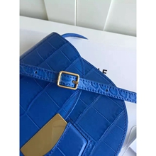 Celine Small Trotteur Bag In Blue Crocodile Leather