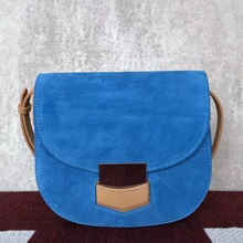 Celine Small Trotteur Bag In Blue Suede Calfskin