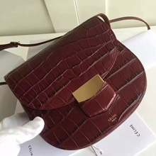 Celine Small Trotteur Bag In Bordeaux Crocodile Leather