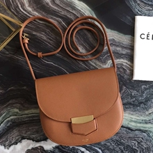 Celine Small Trotteur Bag In Brown Epsom Leather