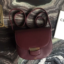 Celine Small Trotteur Bag In Burgundy Calfskin