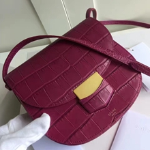 Celine Small Trotteur Bag In Fuchsia Crocodile Leather