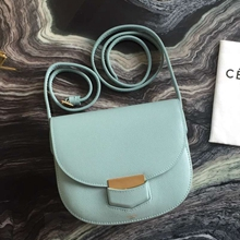 Celine Small Trotteur Bag In Jade Epsom Leather