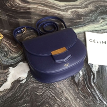 Celine Small Trotteur Bag In Navy Blue Calfskin