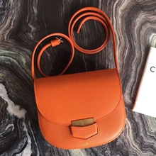 Celine Small Trotteur Bag In Orange Epsom Leather