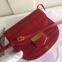 Celine Small Trotteur Bag In Red Crocodile Leather