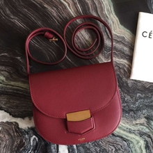 Celine Small Trotteur Bag In Ruby Epsom Leather