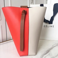 Celine Small Twisted Cabas Bag In Linen/Poppy Calfskin