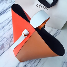 Celine Small Twisted Cabas Bag In Orange/Tan Calfskin