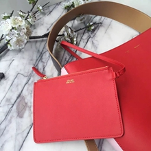 Celine Small Twisted Cabas Bag In Red/Pink Calfskin