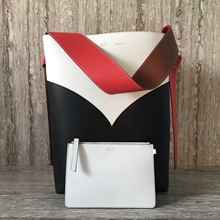 Celine Small Twisted Cabas Chevron In White/Black Calfskin