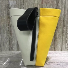 Celine Small Twisted Cabas In Yellow And White Washed Canvas