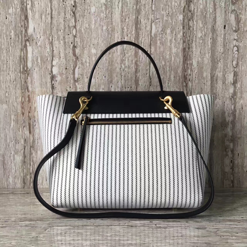 Celine Mini Belt Bag In Black And White Striped Textile - Click Image to Close
