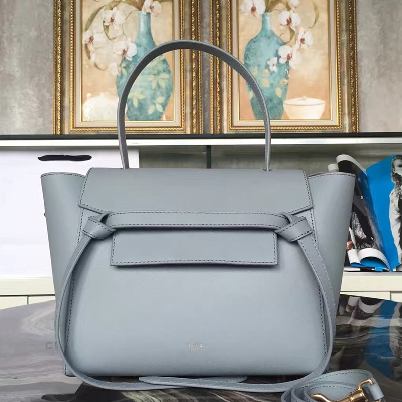 Celine Mini Belt Tote Bag In Azure Epsom Leather - Click Image to Close